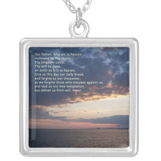 Our Father Prayer Square Pendant Necklace
