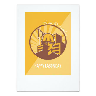 Our Fellow Workers Labor Day Poster Retro 11 Cm X 16 Cm Invitation Card