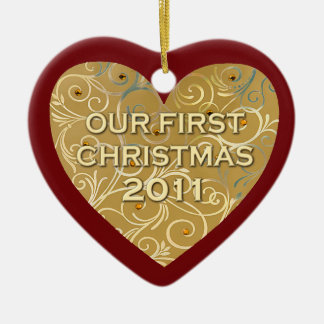 Our First Christmas 2011 Ceramic Heart Decoration