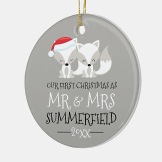 Our First Christmas Arctic Fox Personalized Christmas Ornament