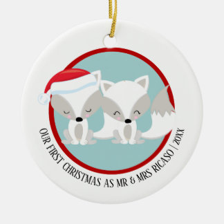 Our First Christmas Arctic Foxes Personalized Christmas Ornament