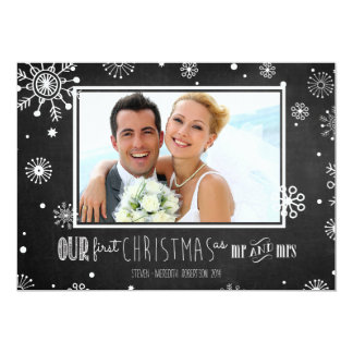 Our First Christmas as Mr and Mrs Chalkboard Card 13 Cm X 18 Cm Invitation Card