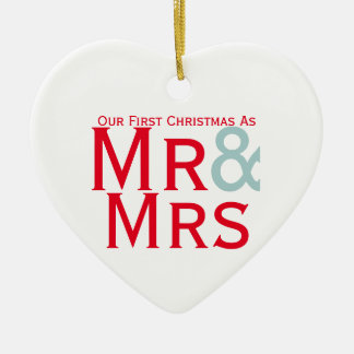 Our First Christmas as Mr and Mrs Couples Ceramic Heart Decoration