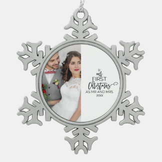 Our First Christmas as Mr and Mrs Photo Holiday Snowflake Pewter Christmas Ornament