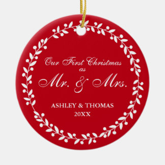 Our First Christmas as Mr. and Mrs. Round Red G Christmas Ornament