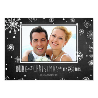 Our First Christmas as Mr and Mrs Snowflake Card Custom Invitation