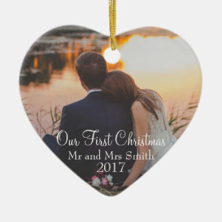 """""""Our First Christmas"""" as Mr & Mrs (Customisable) Christmas Ornament"""