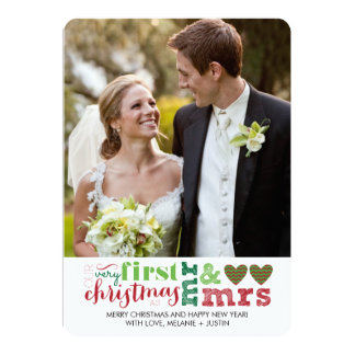 Our First Christmas as Mr & Mrs Holiday Card 13 Cm X 18 Cm Invitation Card