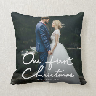 Our First Christmas as Mr. & Mrs. | Holiday Photo Cushion