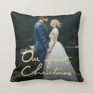 Our First Christmas as Mr. & Mrs. | Newlywed Photo Cushion