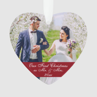 Our First Christmas as Mr. & Mrs. Wedding Heart Ornament