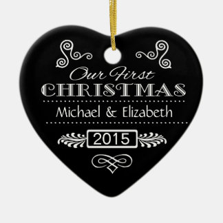 Our First Christmas - Black Chalkboard Heart Ceramic Heart Decoration
