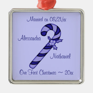 """""""Our First Christmas"""" - Blue Candy Cane [b] Christmas Ornament"""