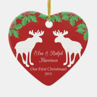 Our first Christmas - Ceramic decorative heart Christmas Ornament