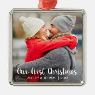 Our First Christmas Couple Photo Modern Square Christmas Ornament