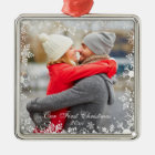 Our First Christmas Couple Photo Snowflake Border Christmas Ornament