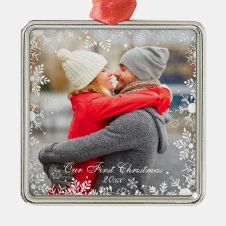 Our First Christmas Couple Photo Snowflake Border Christmas Ornament