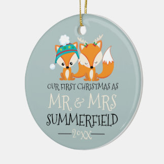 Our First Christmas Cute Red Foxes Personalized Christmas Ornament