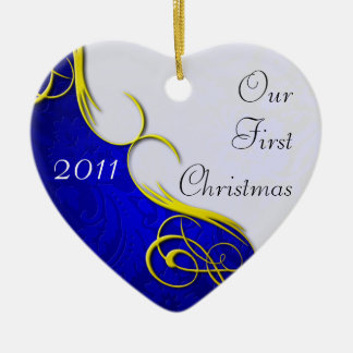 Our First Christmas Damask Ceramic Heart Decoration