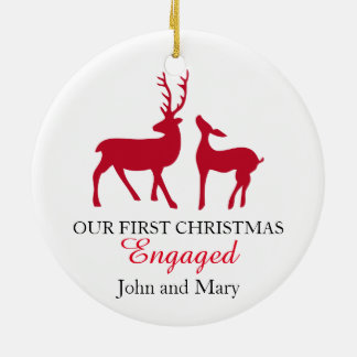 Our first Christmas Engaged ornament, love deers Christmas Ornament