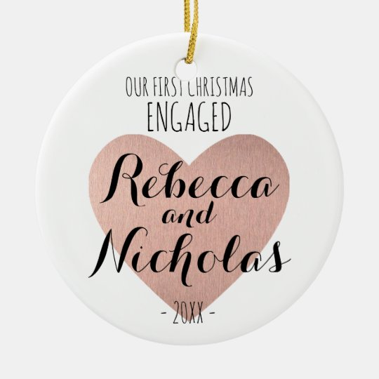 Our first Christmas Engaged ornament Rose gold