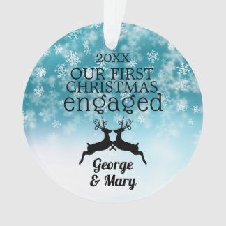Our First Christmas Engaged Snowflakes Photo Ornament