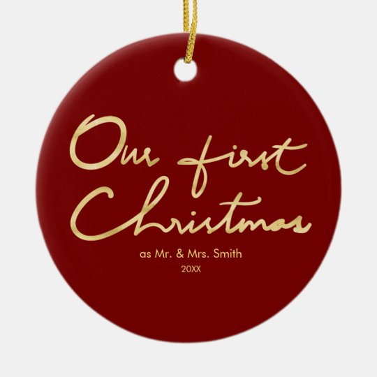 Our First Christmas Faux Gold Newlywed Christmas Christmas