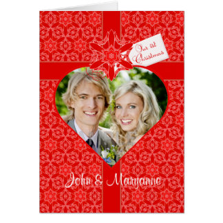 Our First Christmas for Wife with Custom Photo Greeting Card