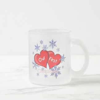 Our First Christmas Frosted Glass Coffee Mug