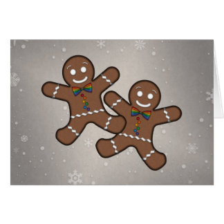 Our First Christmas Gingerbread Couple Gay Pride Greeting Card