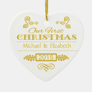 Our First Christmas Gold on White Ceramic Heart Decoration