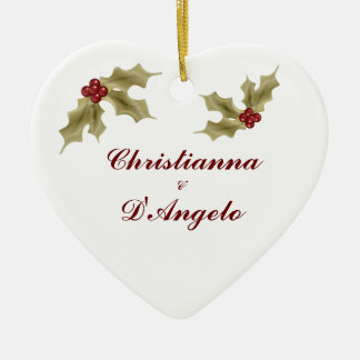 """Our First Christmas/Husband and Wife"" Ceramic Heart Decoration"