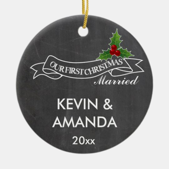 Our first Christmas married engaged together Christmas Ornament