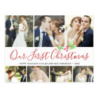 Our First Christmas Married Holiday 7Photo Collage Postcard