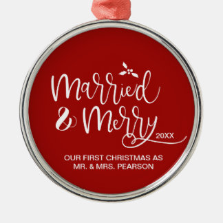 Our First Christmas, Married, Merry, Red Christmas Ornament