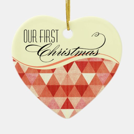 Our First Christmas Modern Lines Photo coral Christmas Tree Ornaments