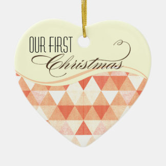 Our First Christmas Modern Lines Photo peach Ornaments