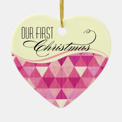 Our First Christmas Modern Lines Wedding fuschia Christmas Ornament