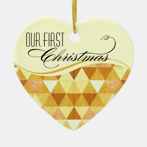 Our First Christmas Modern Lines Wedding gold Christmas Tree Ornaments