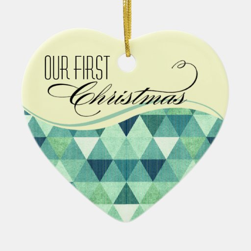 Our First Christmas Modern Lines Wedding teal Christmas Ornaments