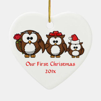 Our First Christmas Mom Dad Baby Custom Christmas Ceramic Heart Decoration