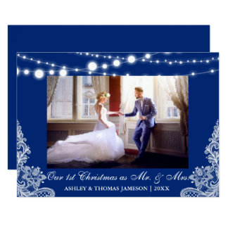 Our First Christmas Mr. & Mrs. Photo Blue Card