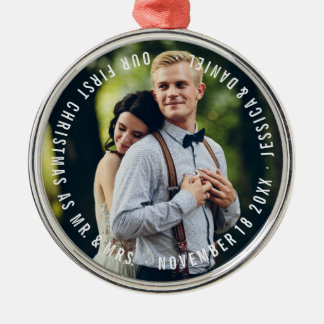 """Our First Christmas"" Newlyweds Photo Christmas Ornament"