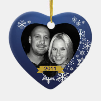 Our First Christmas Ornament Blue Snowflake Custom