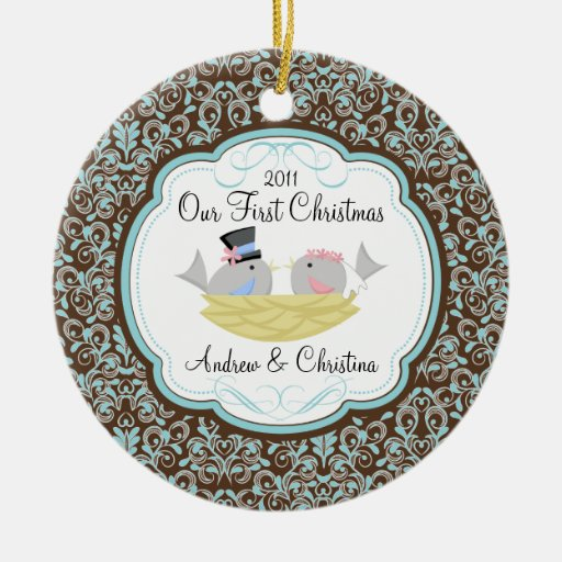 Our First Christmas Ornament Bride Groom Birds