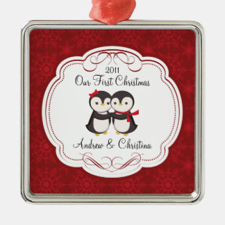 Our First Christmas Ornament Penguin Couple