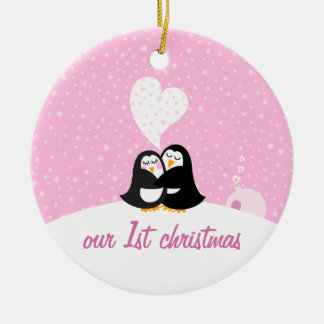 Our First Christmas * Penguins Round Ceramic Decoration