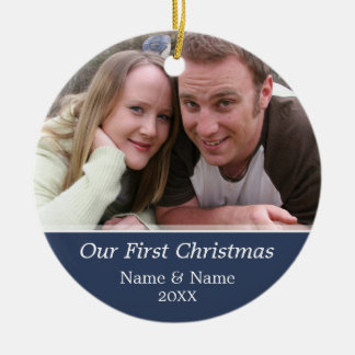 Our First Christmas Photo - Single Sided Round Ceramic Decoration