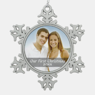 Our First Christmas Photo with Custom Year Pewter Snowflake Decoration