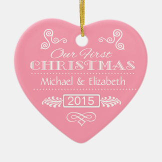 Our First Christmas - Pink Heart Ornament